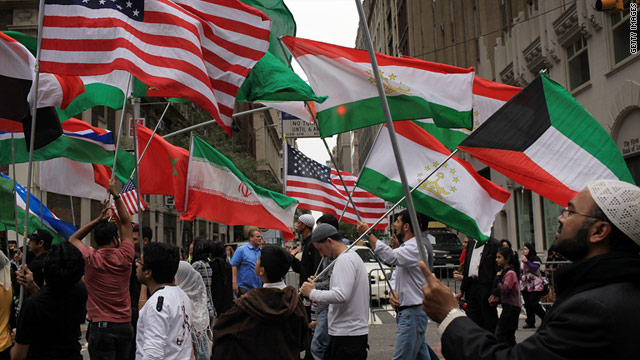 People march in the American Muslim Day Parade on September 26, 2010 in New York.
