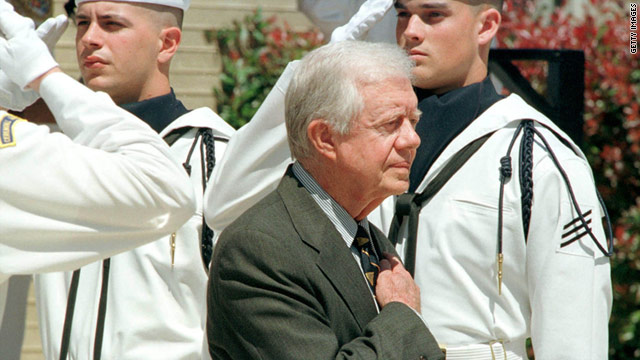 Former President Carter attends a dedication ceremony for a nuclear submarine bearing his name April 27, 1998.
