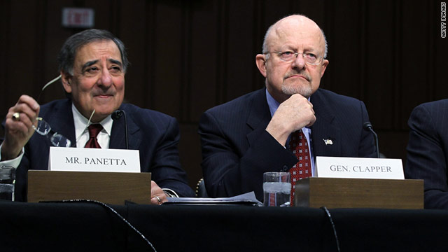 CIA director Leon Panetta, left, and Director of National Intelligence James Clapper testify before a Senate committee in February.