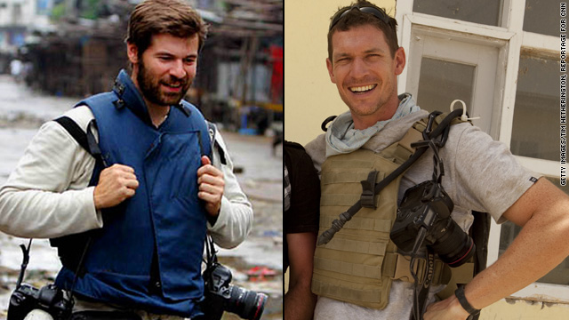 Photojournalists Chris Hondros, left, and Tim Hetherington were killed in the Libya conflict.