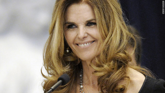 Maria Shriver speaks at her father's funeral in January.