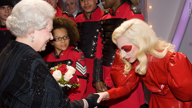 American royalty meets British: Lady Gaga bows to Queen Elizabeth II at 2009 Royal Variety Performance in England.