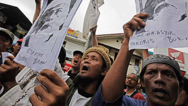 Supporters of radical cleric Abu Bakar Bashir, who is currently on trial in Jakarta on terrorism charges.