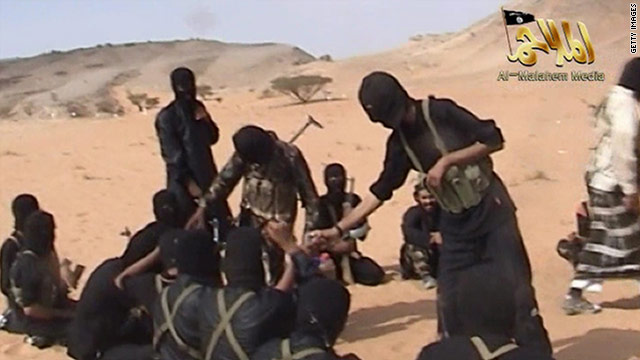 A screen shot of a video posted on the Internet on October 6 shows militants from al Qaeda in the Arabian Peninsula.