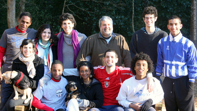 Melissa Fay Greene's family. Back row (l to r): Daniel, Lily Melissa, Don, Seth, Jesse; sitting, Molly, Yosef, Helen, Lee, Sol