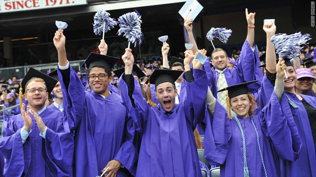 New York University graduates celebrate at their commencment May 18. Things might not be so cheerful on the job hunt.