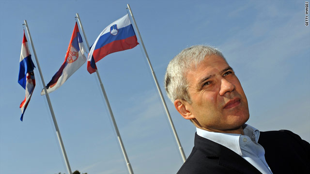 Serbian President Boris Tadic awaits arrival of Slovenian and Croatian prime ministers at meeting on April 1.