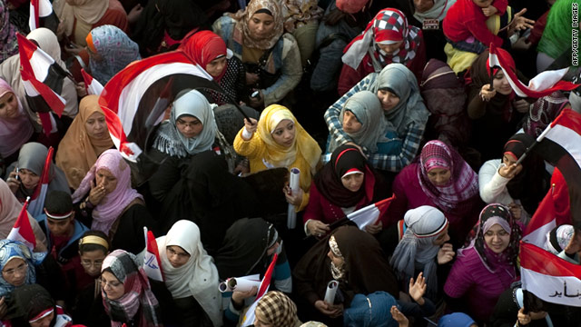 Egyptian women protesting in Tahrir square in February, 2011