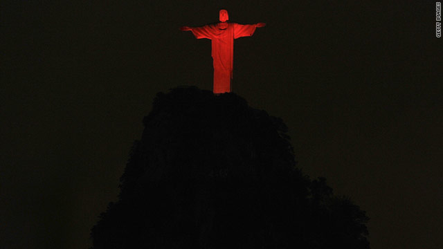 Brazil's most famous landmark, the Christ the Redeemer statue, is specially illuminated to mark World AIDS Day in 2009.
