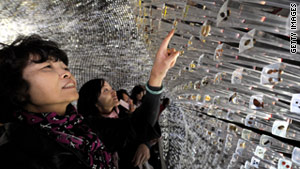Visitors explore the UK pavilion in October 2010, as the Shanghai World Expo was about to end.