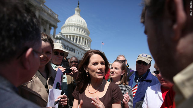 Rep. Michele Bachmann (R-MN) speaks to supporters after a Washington rally April 6 in support of spending cuts.