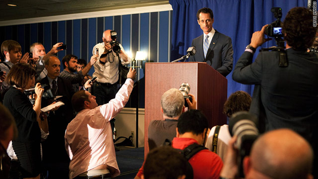 Rep. Weiner admits at a June 6 press conference in New York that he lied about tweeting a lewd photo of himself to a woman.