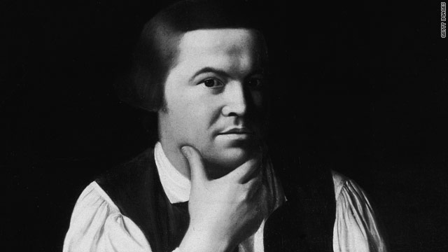 This black-and-white photo shows a portion of the portait in oil of Paul Revere, by John Singleton Copley, circa 1768.