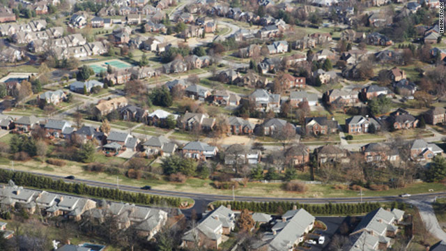 Aerial view of suburbs near Louisville, Kentucky.