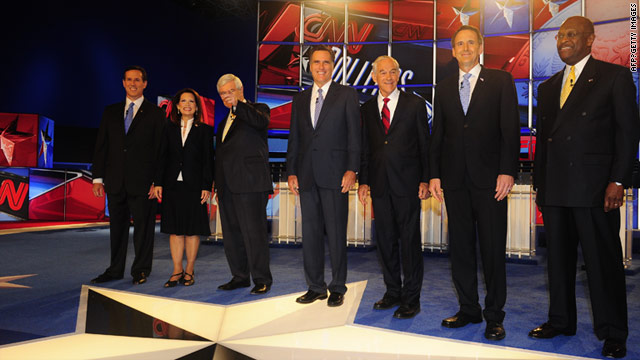 Rick Santorum, Michele Bachmann, Newt Gingrich, Mitt Romney, Ron Paul, Tim Pawlenty and Herman Cain kick off the 2012 race.
