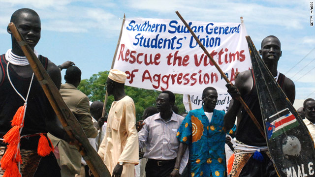Sudanese demonstrators in the southern capital Juba protest the northern military occupation of the Abyei region on May 23.