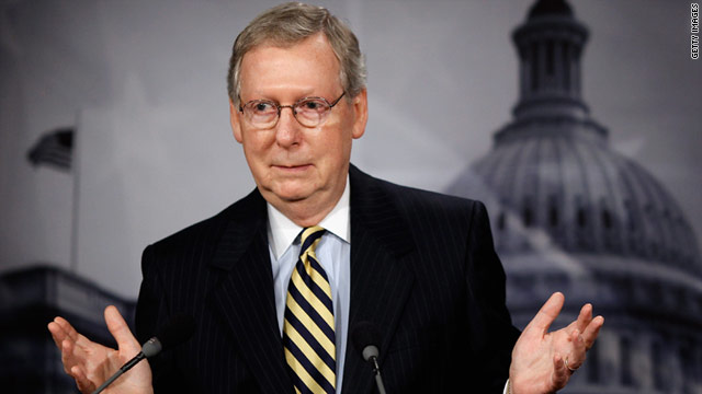 Sen. Minority Leader Mitch McConnell, R-Kentucky, answers questions during his weekly news conference May 27.