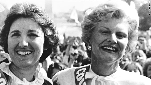 Eleanor Smeal and former first lady Betty Ford appear at a 1981 countdown rally for the Equal Rights Amendment in Washington.