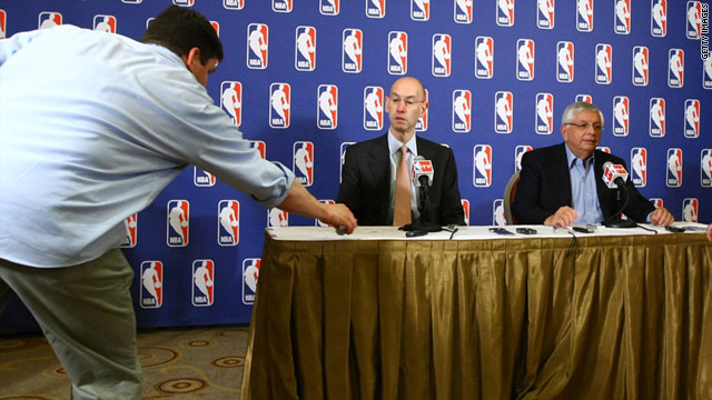 NBA Commissioner David Stern, right, and  Deputy Commissioner Adam Silver announce a lockout June 30 in New York.
