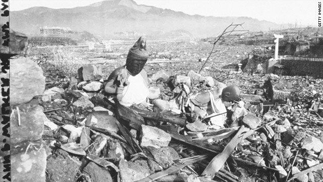 Battered statues of Buddha remain in the ruins, days after an atomic bomb obliterated Nagasaki, Japan, in August, 1945.