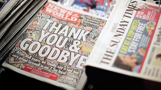 The News of the World, owned by Rupert Murdoch and Britain's largest-circulation paper, issues its last edition after 168 years.