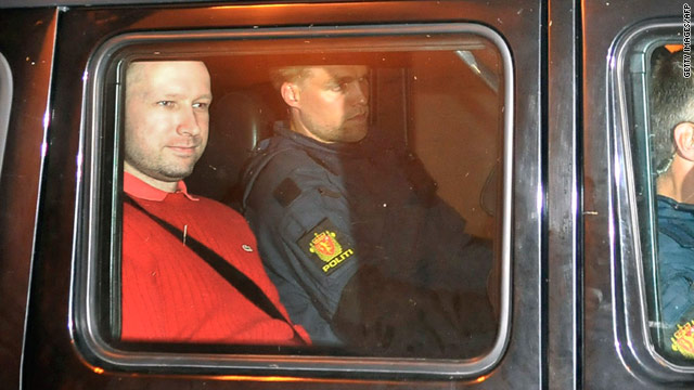 Bomb and terror suspect Anders Behring Breivik leaves the courthouse in a police car in Oslo Monday.