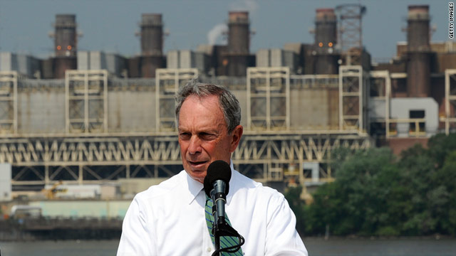 New York Mayor Michael Bloomberg speaks in front of a coal-fired power plant in Alexandria, Virginia, on July 21.