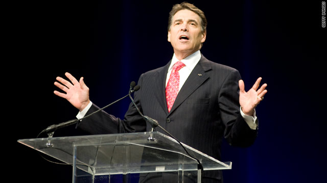 "Texas Gov. Rick Perry speaks to an estimated 30,000 attendees at the prayer event, ""The Response,"" Saturday in Houston."