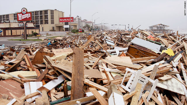 Debris deposited by Hurricane Ike covers Seawall Boulevard in Galveston, Texas, on September 13, 2008.
