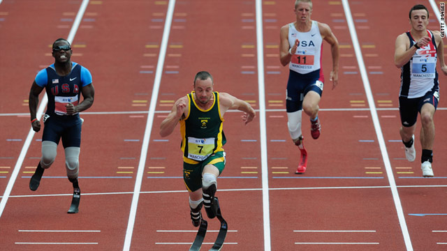 Oscar Pistorius wins the T44 100m event during the BT Paralympics World Cup Athletics on May 27 in Manchester, England.