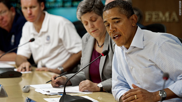 President Obama speaks Saturday during a meeting of officials coordinating response to Hurricane Irene.