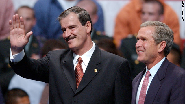 Mexico's Vicente Fox and President Bush greet crowds on September 6, 2001, the high point in relations before the attacks.