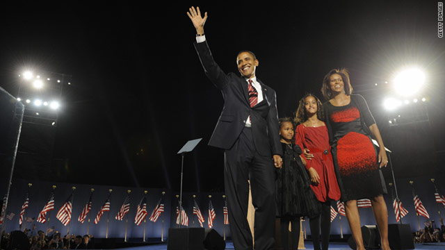 Hope and approval ratings were sky high on November 4, 2008, at Obama's election night victory rally in Grant Park, Chicago.