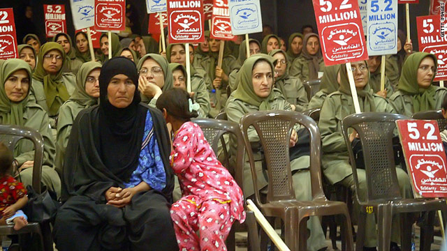Female members of the Muhahedin-e Khalq (MEK) gather at Camp Ashraf, Iraq.