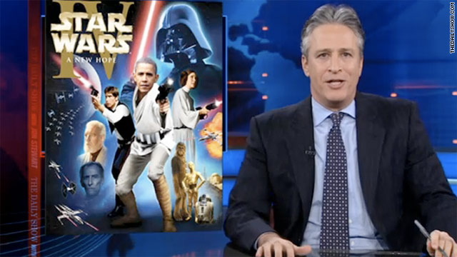 """Daily Show"" host Jon Stewart compared President Obama to ""Star Wars"" character Luke Skywalker."