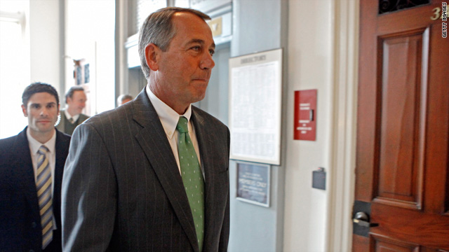 Incoming Speaker of the House John Boehner arrives for a House Republican caucus meeting.