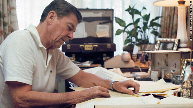 President-elect Ronald Reagan works on his inaugural address at home in California before his inauguration on January 20, 1981.