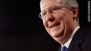 "Republican Sen. Mitch McConnell blames ""excessive government spending of the last two years"" for a sluggish economic recovery."