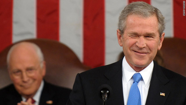 Former President George W. Bush winks while delivering his final State of the Union address on January 28, 2008.