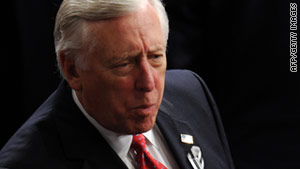 Rep. Steny Hoyer, D-Maryland, wears a black-and-white ribbon Tuesday to honor victims of the Arizona shooting.