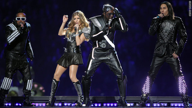 The Black Eyed Peas perform during the Super Bowl XLV halftime show Sunday.