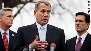 "House Speaker John Boehner, center, said ""enough common ground"" was found with the president during the lunch."