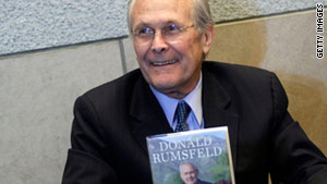 Former Defense Secretary Donald Rumsfeld kicked off his book tour on Wednesday in Philadelphia, Pennsylvania.
