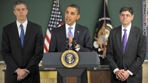 President Obama talks about education with Education Secretary Arne Duncan, left, and OMB Director Jack Lew.