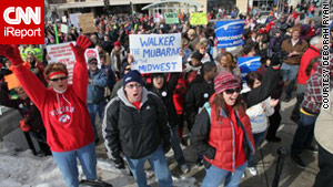 On Wednesday, 10,000 people demonstrated against the Wisconsin governor's budget, an official says.