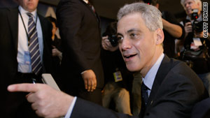 Former White House staffer Rahm Emanuel celebrates his Chicago mayoral victory Tuesday night.