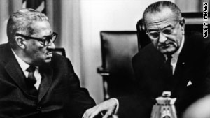 The University of Virginia released taped conversations between President Johnson and Thurgood Marshall.