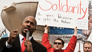 Civil rights activist Van Jones speaks at a Washington, D.C., rally in support of Wisconsin public union workers.