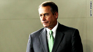 House Speaker John Boehner gave a speech to religious broadcasters in Nashville on Sunday.
