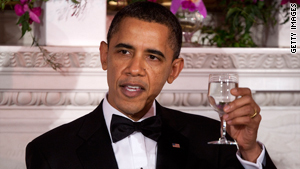 President Obama toasted the nation's governors at the White House on Sunday.